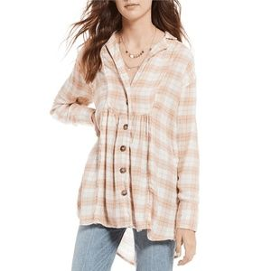 Free People All About The Feels Plaid Buttondown
